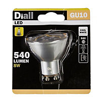 Diall 8W 540lm Reflector Cool white LED Dimmable Light bulb
