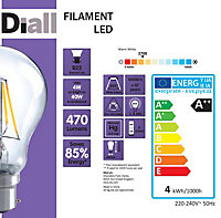 Diall B22 4W LED filament GLS Light bulb