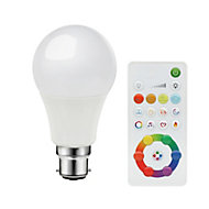 Diall B22 LED Cool white, RGB & warm white GLS Dimmable Smart Light bulb