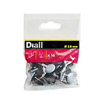Diall Black & grey Nail & PTFE Nail-in glide (Dia)19mm, Pack of 16