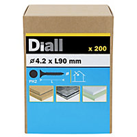 Diall Carbon steel Fine Plasterboard screw (Dia)4.2mm (L)90mm, Pack of 200