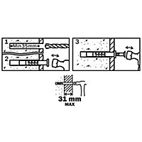 Diall Countersunk Hammer fixing (L)60mm (Dia)6mm, Pack of 20
