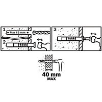 Diall Countersunk Hammer fixing (L)80mm (Dia)8mm, Pack of 50