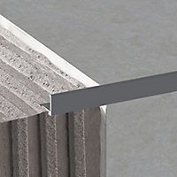 Diall Dark grey 10mm Straight Aluminium Tile trim