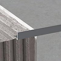 Diall Dark grey 12.5mm Straight Aluminium Tile trim