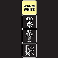 Diall E27 4W 470lm Classic Warm white LED Filament Light bulb