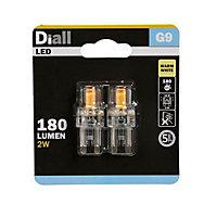 Diall G9 180lm Warm white LED Light bulb, Pack of 2