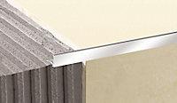 Diall Gloss Chrome effect 10mm Straight Aluminium External edge tile trim