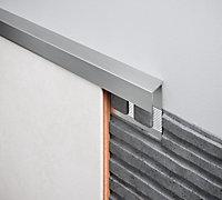 Diall Gloss Chrome effect 8mm Straight Aluminium External edge tile trim
