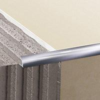 Diall Gloss Chrome effect 9mm Round Aluminium External edge tile trim