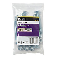 Diall M10 Hex Carbon steel Bolt & nut (L)70mm, Pack of 10