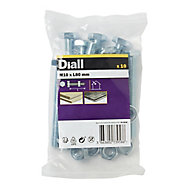 Diall M10 Hex Carbon steel Bolt & nut (L)80mm, Pack of 10