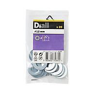 Diall M12 Carbon steel Flat Washer, Pack of 20