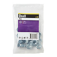 Diall M12 Carbon steel Hex Nut, Pack of 20