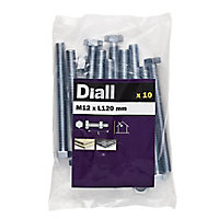 Diall M12 Hex Carbon steel (grade 5.8) Bolt & nut (L)120mm, Pack of 10