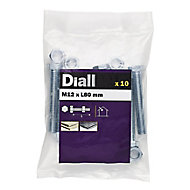 Diall M12 Hex Carbon steel (grade 5.8) Bolt & nut (L)80mm, Pack of 10