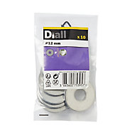 Diall M12 Stainless steel Flat Washer, Pack of 10