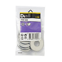 Diall M12 Stainless steel Large Flat Washer, Pack of 10