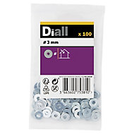 Diall M3 Carbon steel Flat Washer, Pack of 100