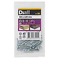 Diall M3 Carbon steel Pan head Machine screw & nut (L)20mm, Pack of 20