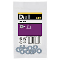 Diall M4 Carbon steel Flat Washer, Pack of 10