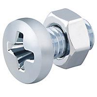 Diall M5 Carbon steel Pan head Machine screw & nut (L)10mm, Pack of 20