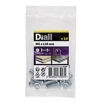 Diall M5 Hex Carbon steel Bolt & nut (L)16mm, Pack of 10