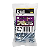 Diall M6 Carbon steel Pan head Machine screw & nut (L)30mm, Pack of 20