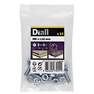 Diall M6 Hex Carbon steel (grade 5.8) Bolt & nut (L)16mm, Pack of 10