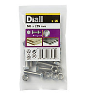 Diall M6 Hex Stainless steel Bolt & nut (L)25mm, Pack of 10