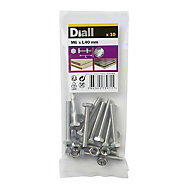 Diall M6 Hex Stainless steel Bolt & nut (L)40mm, Pack of 10
