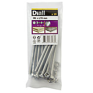 Diall M6 Hex Stainless steel Bolt & nut (L)70mm, Pack of 10