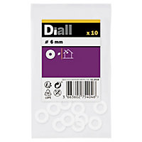 Diall M6 Nylon Washer, Pack of 10