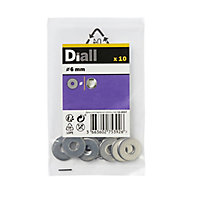 Diall M6 Stainless steel Large Flat Washer, Pack of 10