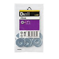 Diall M8 Carbon steel Flat Washer, Pack of 10