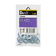 Diall M8 Carbon steel Flat Washer, Pack of 20