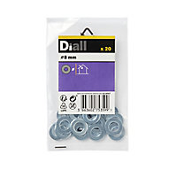 Diall M8 Carbon steel Medium Flat Washer, Pack of 20