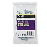 Diall M8 Hex Carbon steel Bolt & nut (L)50mm, Pack of 10