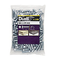 Diall M8 Hex Carbon steel (grade 5.8) Bolt (L)30mm, Pack of 100