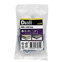Diall M8 Hex Carbon steel (grade 5.8) Bolt & nut (L)30mm, Pack of 10