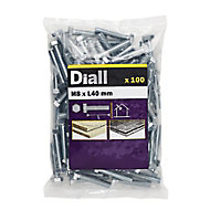 Diall M8 Hex Carbon steel (grade 5.8) Bolt & nut (L)40mm, Pack of 100