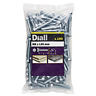 Diall M8 Hex Carbon steel (grade 5.8) Bolt & nut (L)50mm, Pack of 100