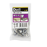 Diall M8 Hex Stainless steel Bolt & nut (L)16mm, Pack of 10