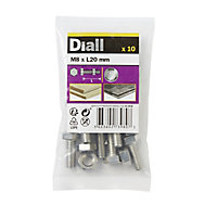 Diall M8 Hex Stainless steel Bolt & nut (L)20mm, Pack of 10