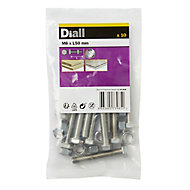 Diall M8 Hex Stainless steel Bolt & nut (L)50mm, Pack of 10