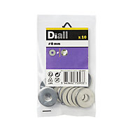 Diall M8 Stainless steel Flat Washer, Pack of 10