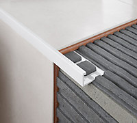 Diall Matt White 8mm Straight PVC External edge tile trim