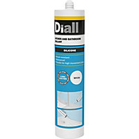 Diall Mould resistant White Kitchen & bathroom Silicone-based Sanitary sealant, 300ml