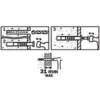 Diall Mushroom Hammer fixing (L)60mm (Dia)6mm, Pack of 20