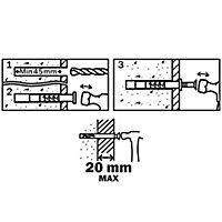 Diall Mushroom Hammer fixing (L)60mm (Dia)8mm, Pack of 10
